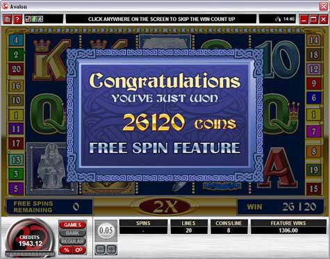 Avalon Slot Winning Screenshot